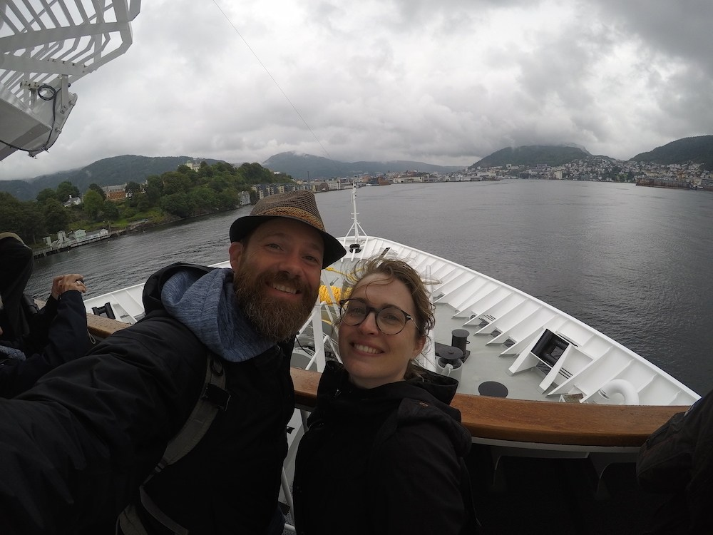 Arriving in Bergen Norway on a Hurtigruten Selfie