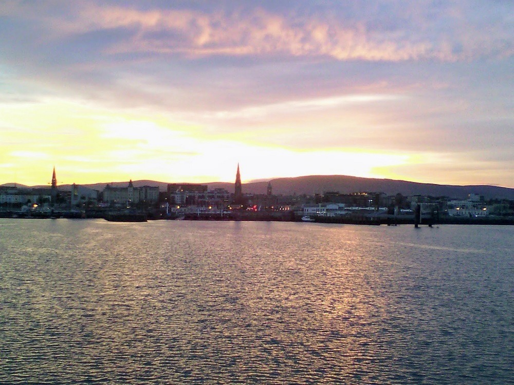 Sunset over the town of Dun Laoghaire
