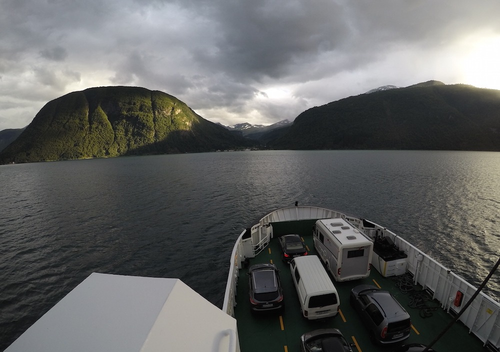 Scenery in a fjord in Norway in one week