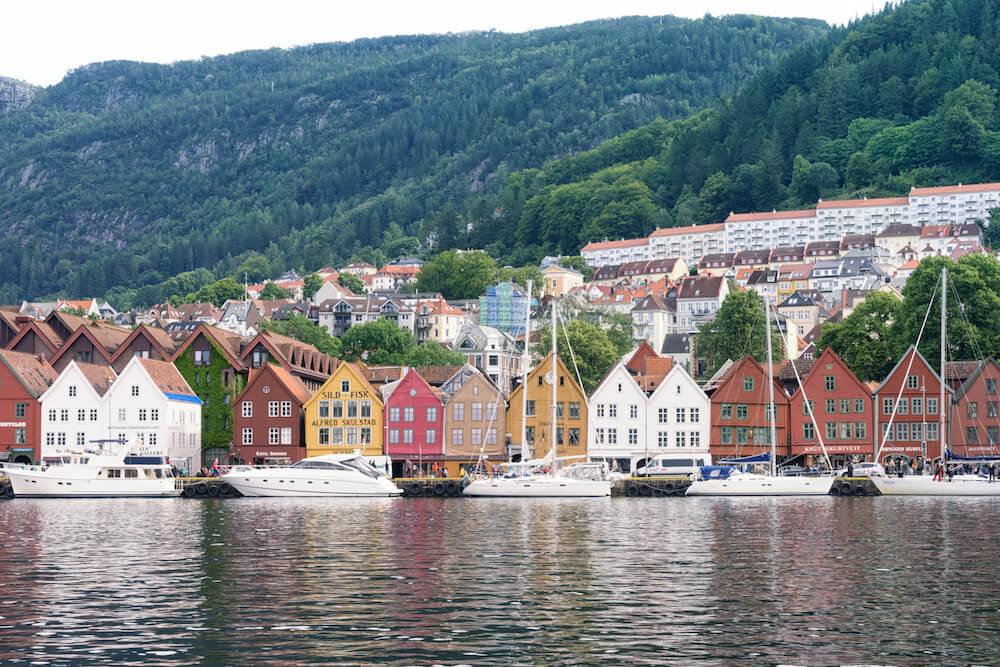 Bryggen in Bergen Harbor Scene