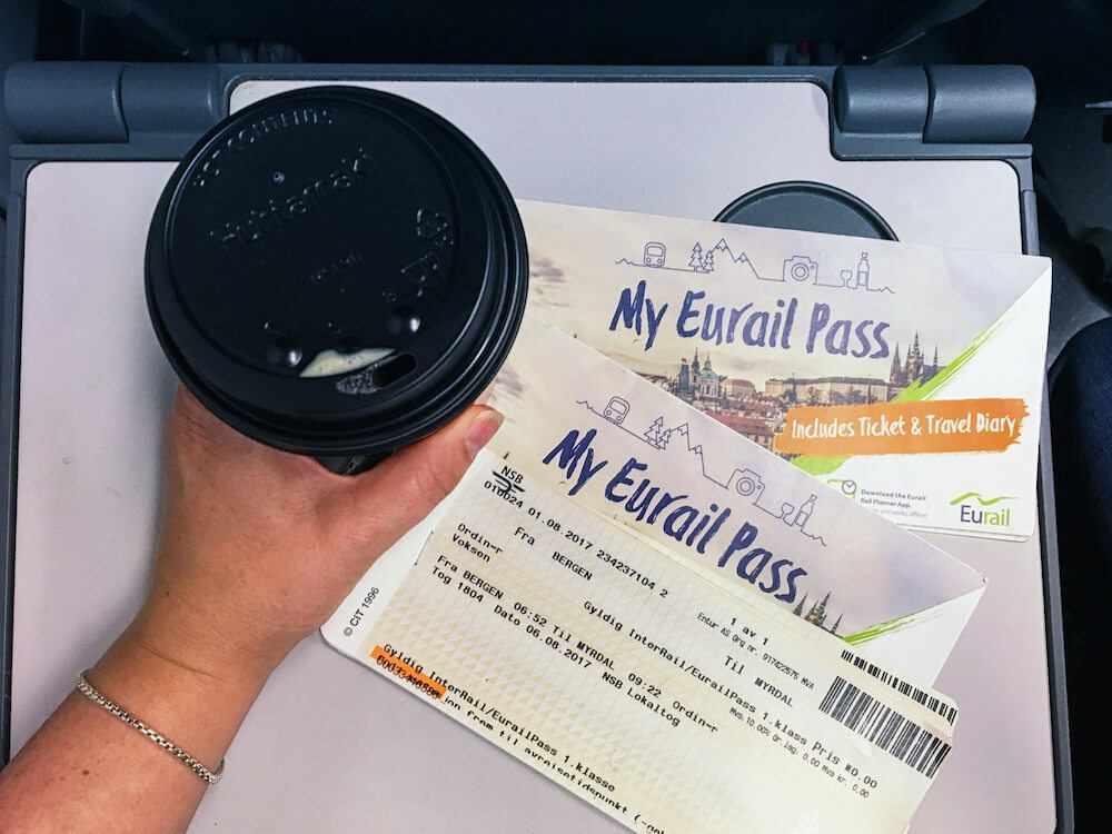 Eurail pass and coffee on a Norway train