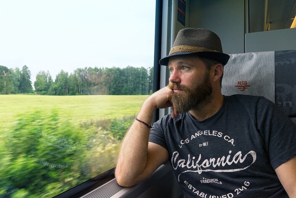 Geoff Matthews rides a train in Norway