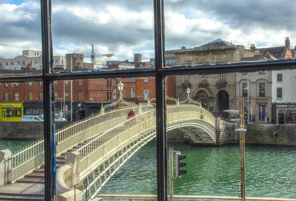 Dublin Hapenny Bridge Through Window