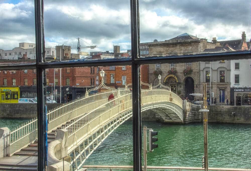 Dublin Hapenny Bridge Through Window