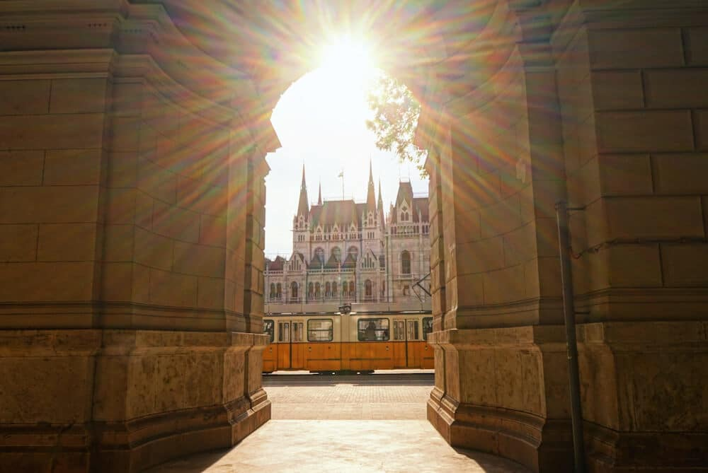 Budapest Parliament Through Archway