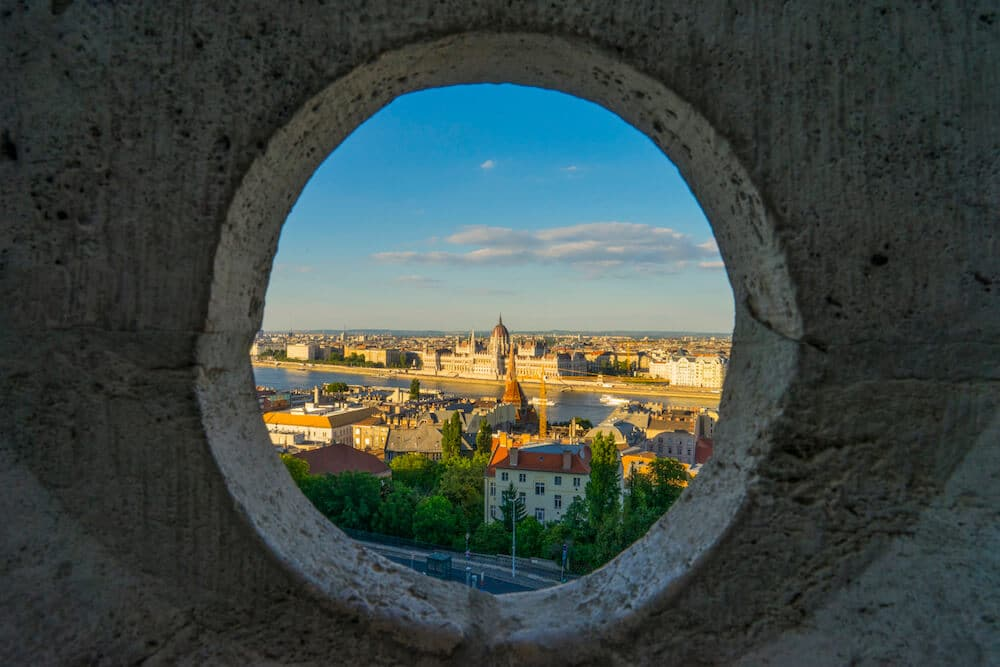 Framed View over Pest from Fisherman's Bastion
