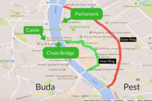The Pest side of Budapest is defined by unofficial ring roads, an inner ring around the inner city, and an outer ring