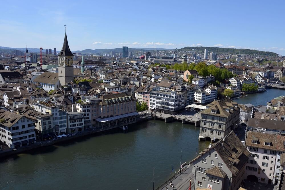 The view from Grossmunster in Old Town Zurich