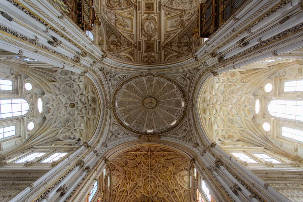the great mosque of cordoba spain ceiling interior