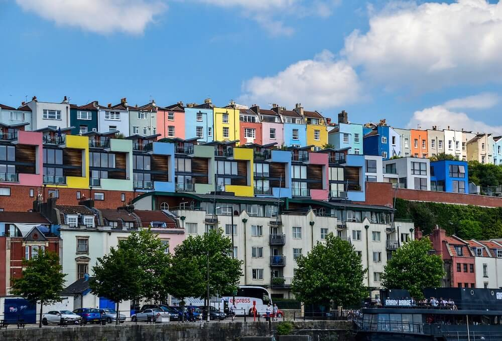 The colorful houses of Bristol harbour in Bristol UK