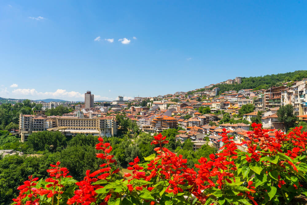 Veliko Tarnovo in Bulgaria is a nice day trip from Bucharest. This photo shows Veliko Tarnovo from afar with flowers in the foreground