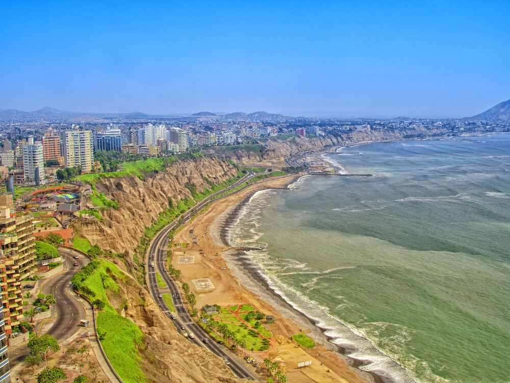 Overlooking downtown Lima Peru and the cliffs of Miraflores district Lima Peru