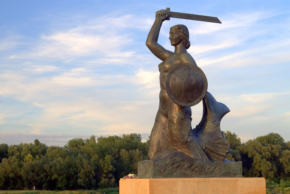 The Warsaw Mermaid monument is the symbol of Warsaw located in old town market place Warsaw or Centrum Nauki Kopernik