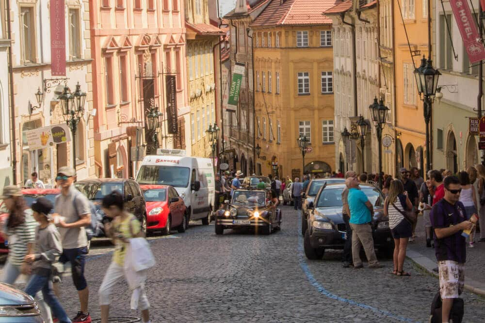 Nerudove Street to the castle in Mala Strana Prague