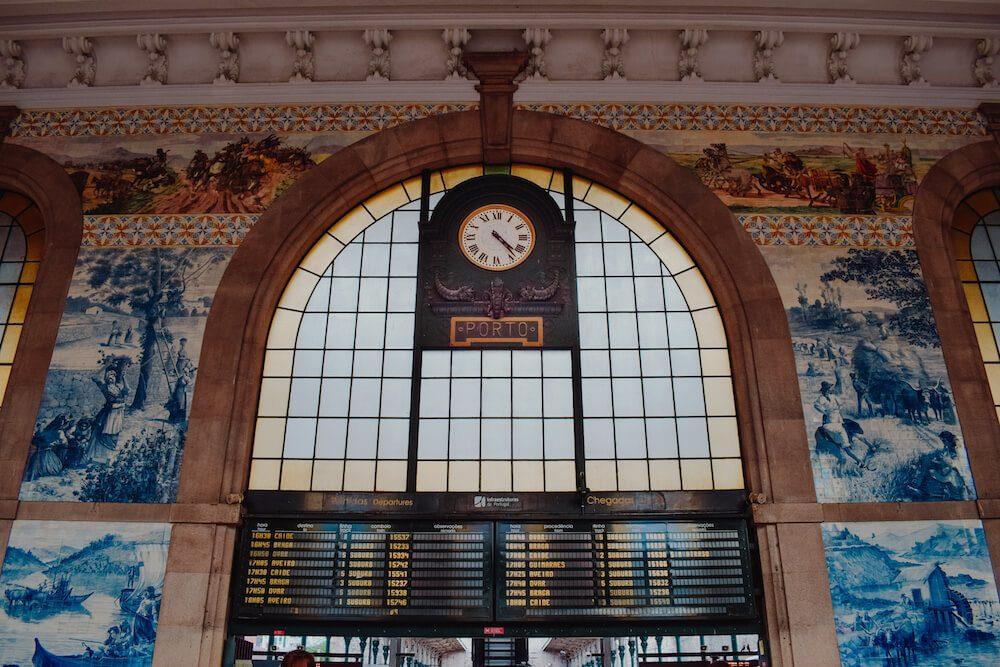 The beautiful train station in Porto Portugal