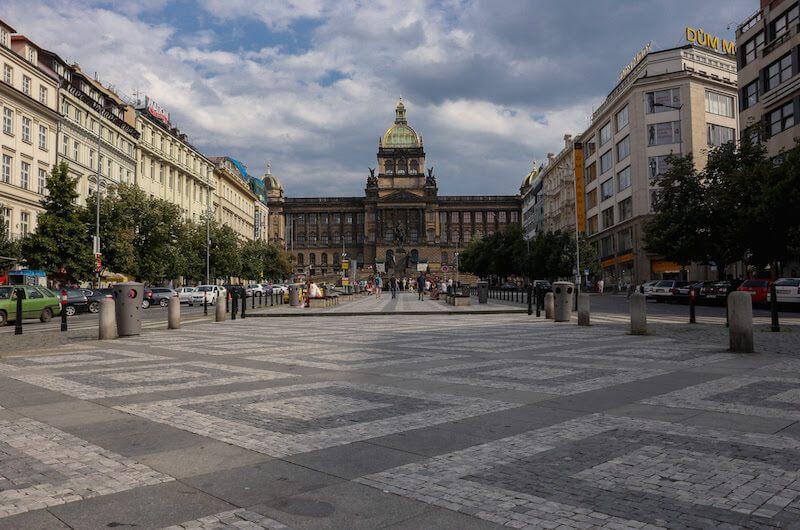 Wenceslas Square Prague and National Museum Building
