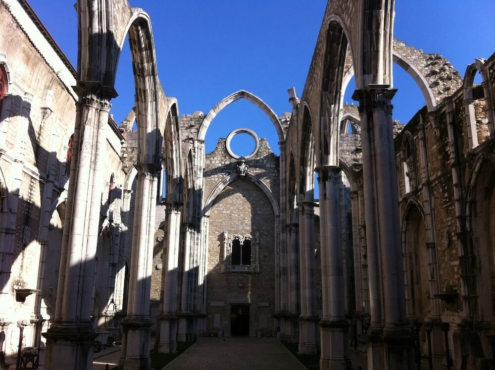 Church ruins in baixa-chiado Lisbon