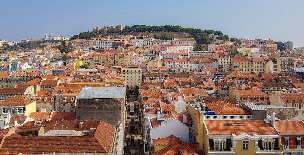 View of Baixa Lisbon and chiado neighborhood lisbon