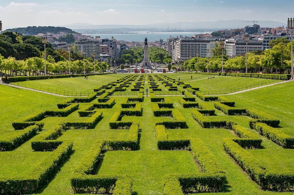 Park at the top of Avenida da Liberdade Lisbon