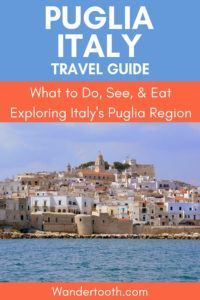 Planning a trip to Italy? Find out why you should include Puglia on your South Italy itinerary! If you're considering visiting Italy and looking for an authentic experience rather than the typical tourist destinations, Find out why you should look no further than Puglia. Beautiful small towns and villages frozen in time and oozing with charm, pristine beaches with crystal clear waters, and all the food you can handle. Consider Puglia on your Italian holiday!#Italy #Puglia #Europe #Travel
