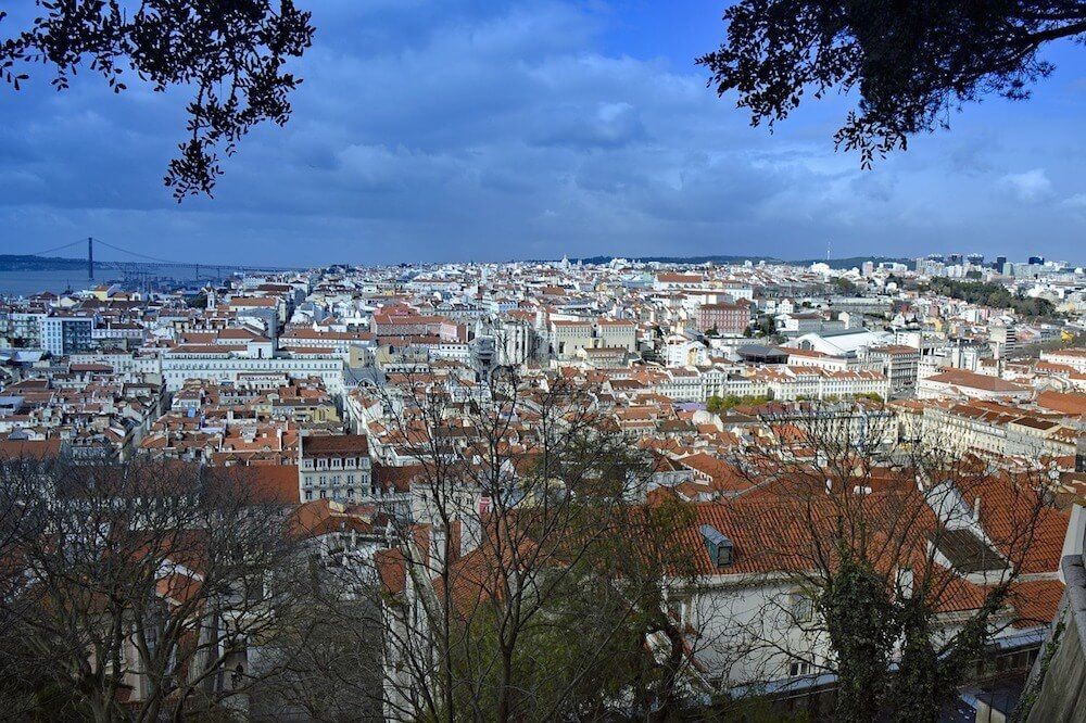 The view from the castle overlooking Alfama Lisbon