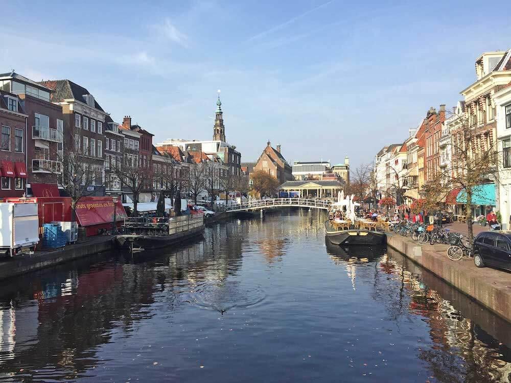 Leiden Netherlands canal and market