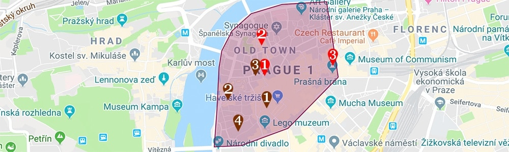 where to stay in prague map prague 1 old town