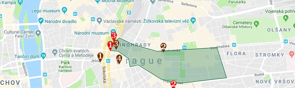 where to stay in prague map prague vinohrady