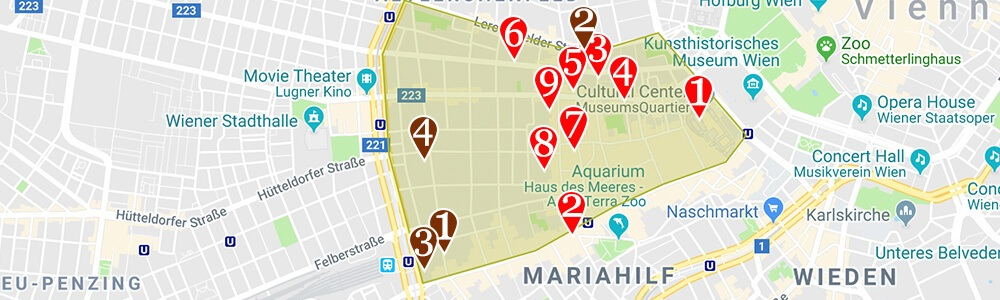 Where to stay in Vienna neighborhood map Neubau Vienna