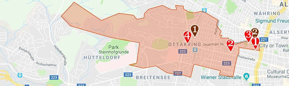 Where to Stay in Vienna neighborhood map Ottakring
