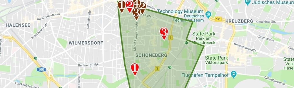 Where to stay in Berlin neighborhood map Schöneberg