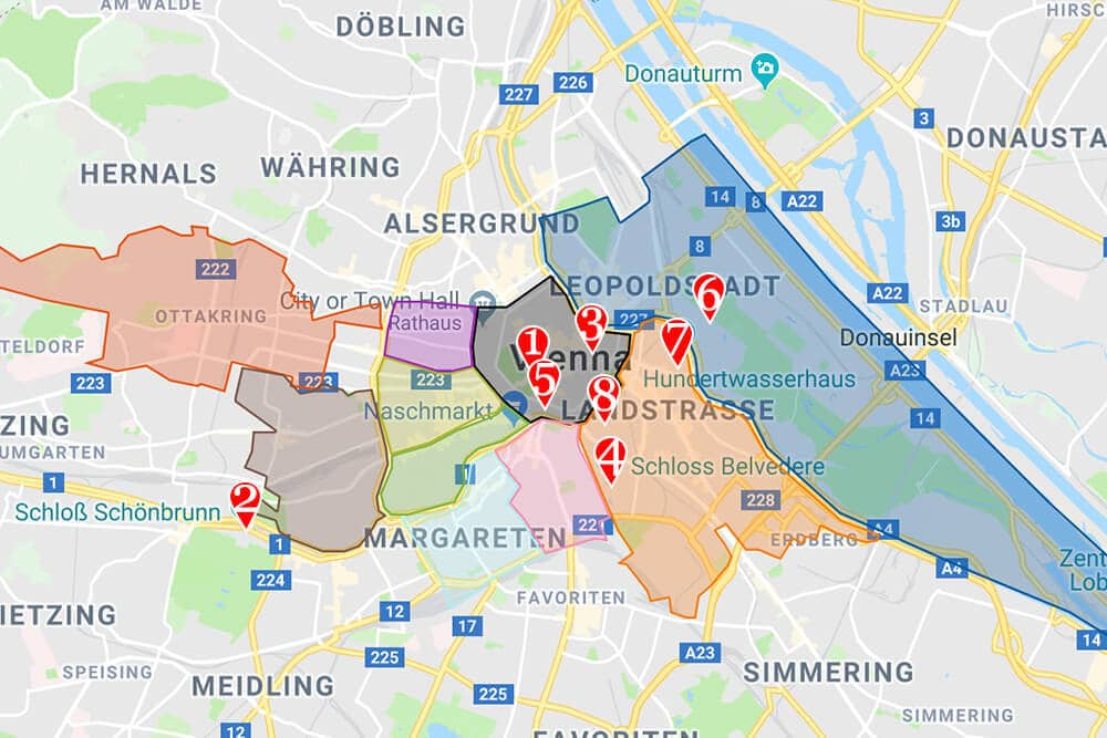 Where to stay in Vienna neighborhood map