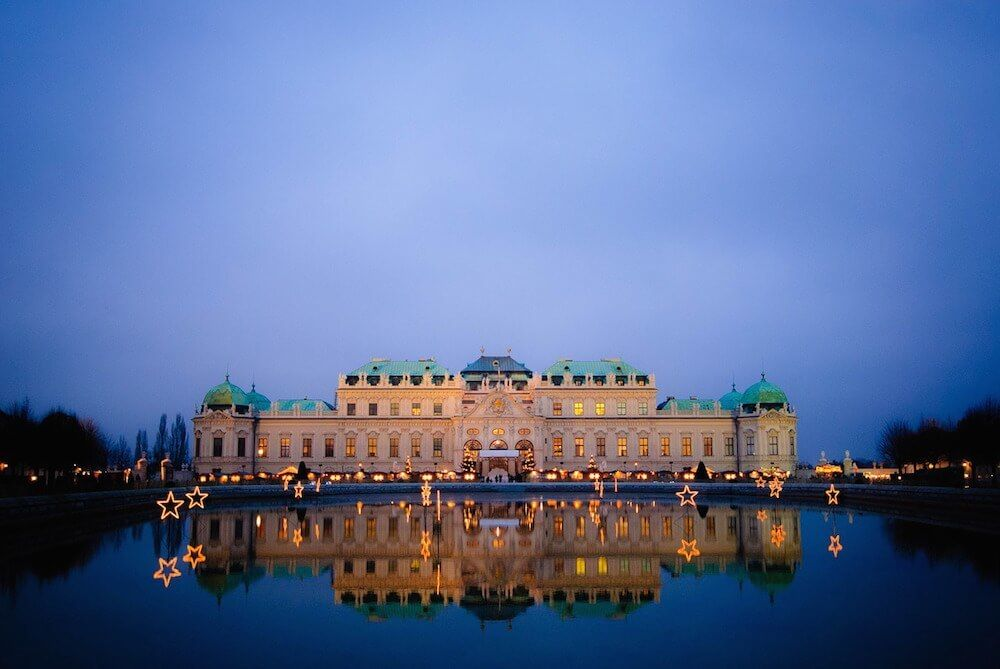 Belvedere Palace Vienna at Night in Vienna Landstrasse District