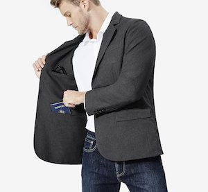 lightweight jeans for travel with a travel blazer