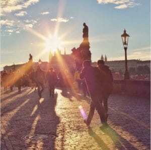 Prague's Charles Bridge at Sunrise