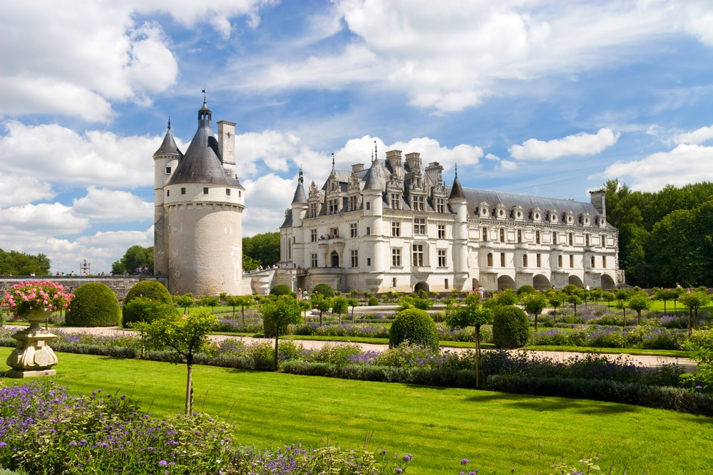 Chenonceaux castle in France. Wide angle view.