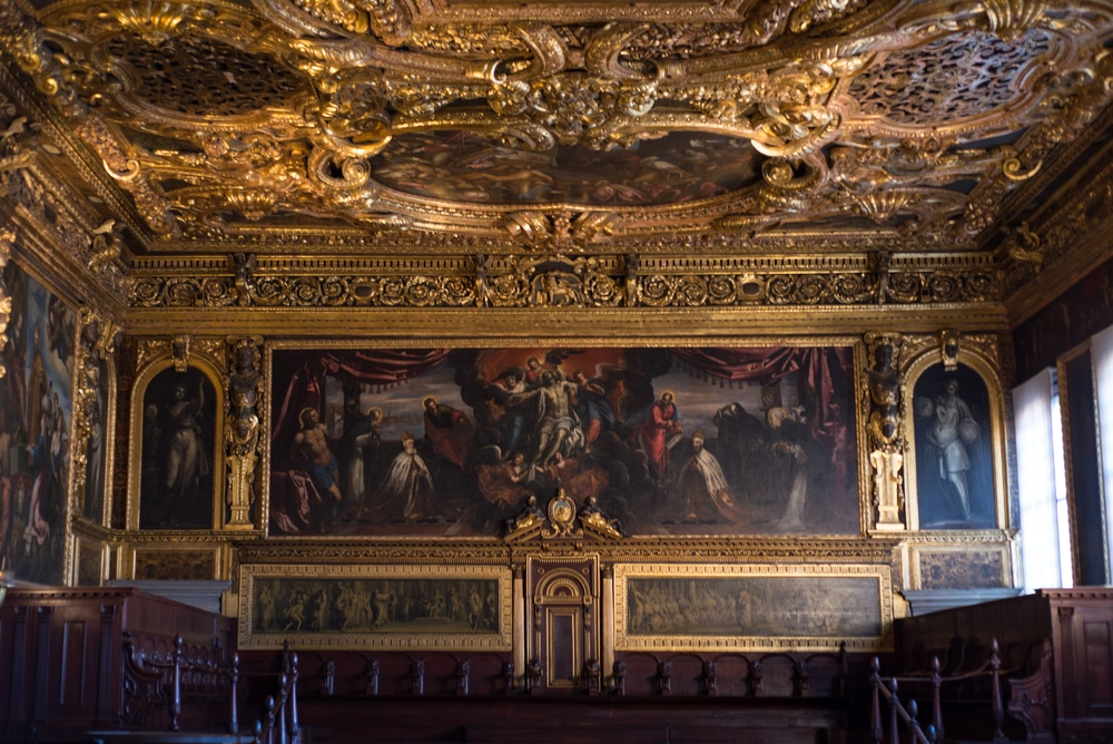 interior of the Doge's Palace in Venice, Italy