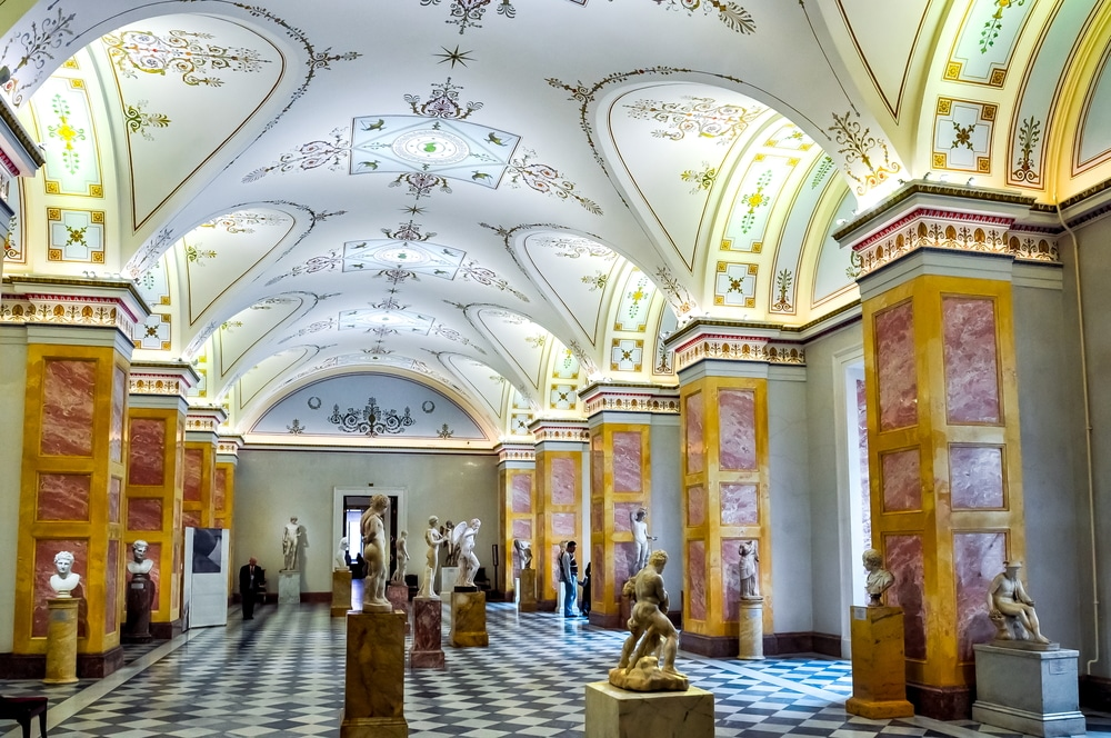 interior of hermitage museum in Russia; decorated hall of statues