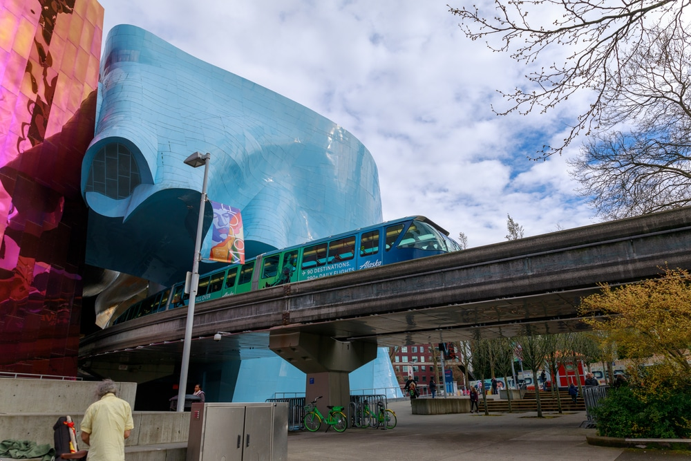Seattle, Washington - April 9, 2018 : The Museum of Pop Culture (MoPOP) and Monorail in Seattle