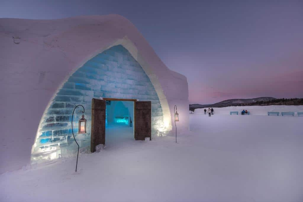 outside the entrance to Canada's ice hotel