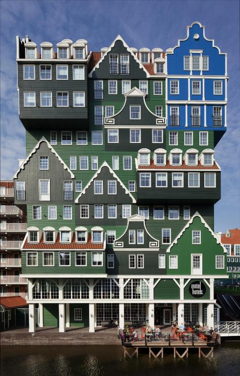 """outside view of """"stacked houses"""" that make up inntel Amsterdam hotel"""