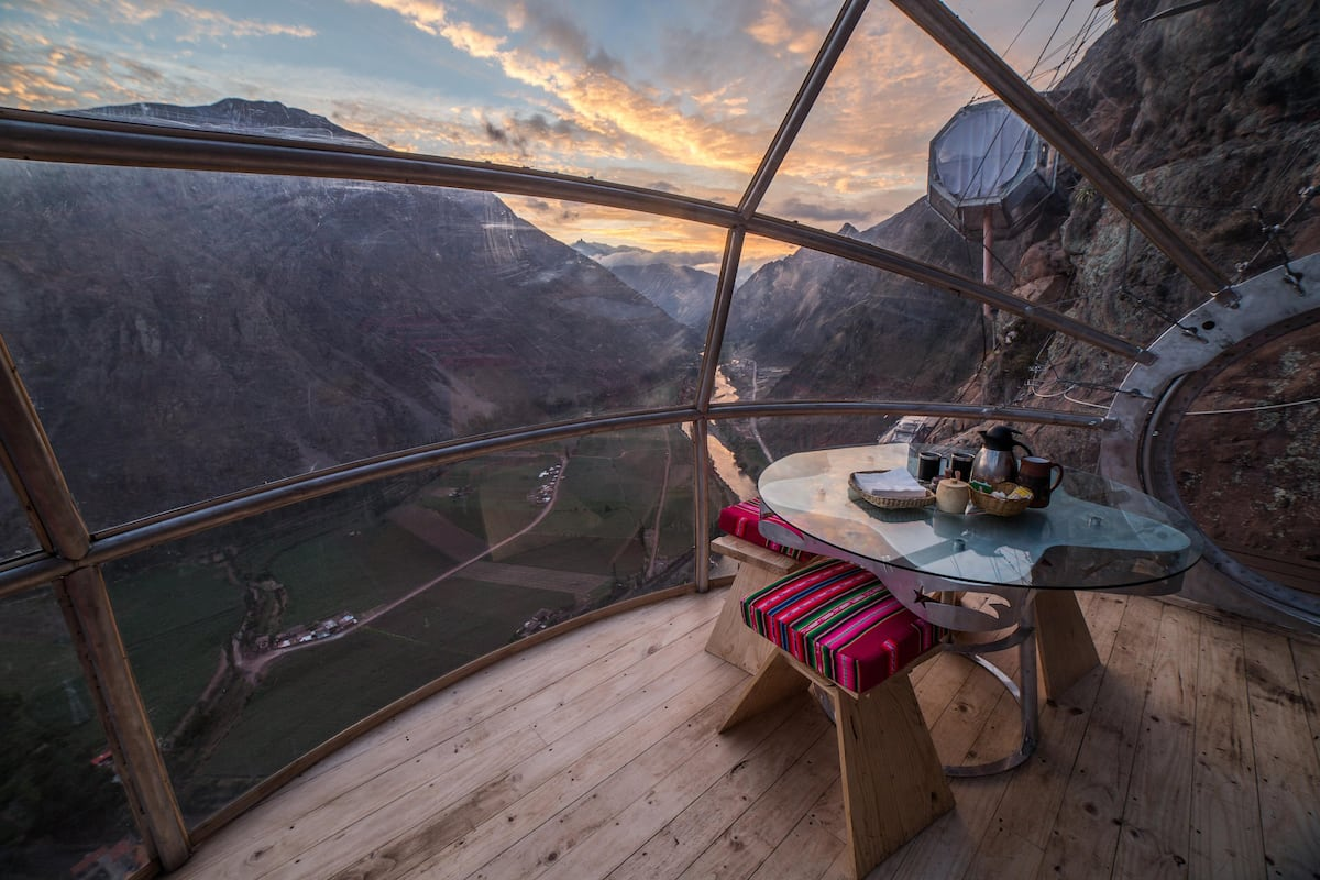 view of sacred valley from inside sky lodge pod